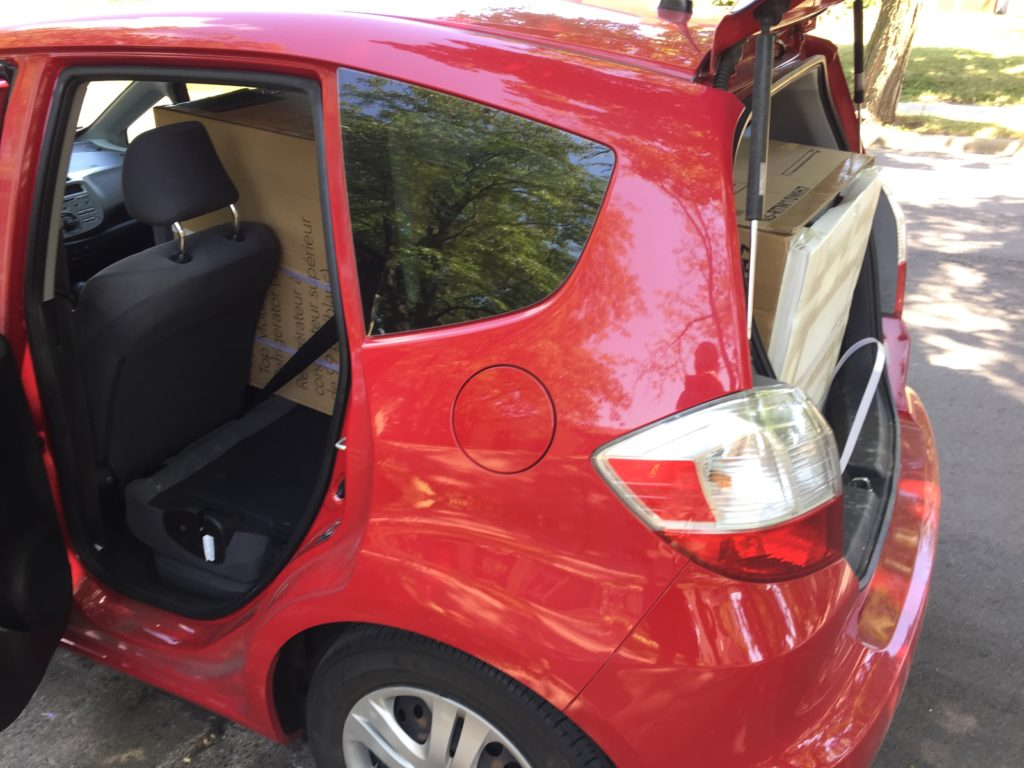 Honda Fit ate a fridge